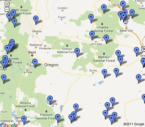 Oregon Hot Springs Map